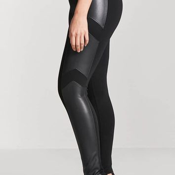 Faux Leather-Panel Leggings
