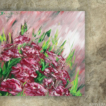 Peony Painting floral wall art FREE SHIPPING palette knife impasto KSAVERA Modern purple pink green paintings on canvas acrylic peonies