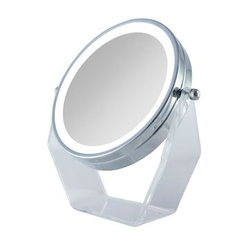 Zadro Next Generation Two-Sided LED Lighted Vanity Swivel Mirror in Acrylic Base with 1X & 8X magnification. Chrome