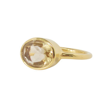 Citrine Oval Gold Ring