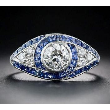 A Museum Perfect 2CT Russian Lab Diamond Blue Sapphire Engagement Promise Wedding Ring
