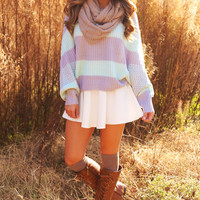 Take This Too Far Sweater: Periwinkle/Mint