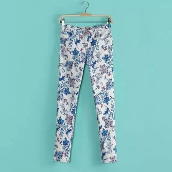 Women's Fashion Floral Print Casual Pants Skinny Pants [4920600260]