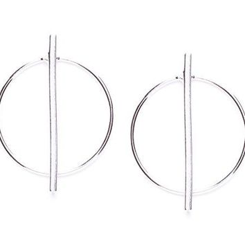 Hoop Earrings in Silver Color Geometric Design | Big Circle Earrings with Bar Design Modern Jewellery