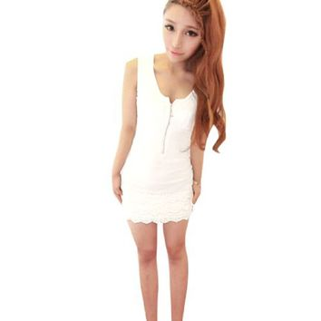 Allegra K Woman One Pocket Front Crochet Hem Sleeveless Dress White XS