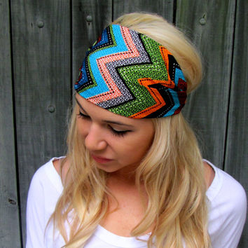 Yoga Headband Wide Headband Head Wrap Womens Headband Blue Red Black Orange Pink Tribal Print Bohemian/Chevron Print Head Scarf