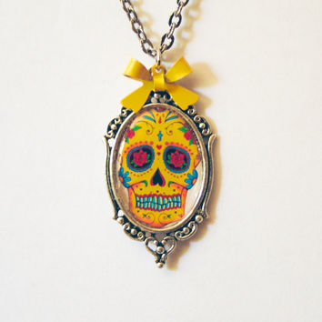 sugar skull necklace colorful skullcandy pretty yellow pink dia de los muertos day of the dead pretty little liars sugarskull skull hallowee