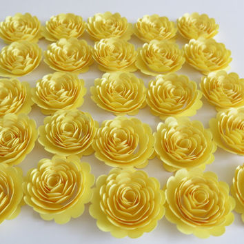 "25 bright yellow paper flowers, 1.5"" roses, small carnations, wedding decorations, baby and bridal shower decor, loose floral party supplies"