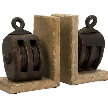 Antique Styled Fancy Mason Wood Pulley Bookends