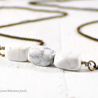 White Howlite Triple Cube Bar Necklace. Minimalist Jewelry. Extra Long Boho Necklace. Brass Gemstone Layered Necklace. Marble Necklace.