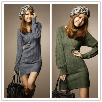 New Long Sweaters Autumn Winter Women Fashion Pullovers Jumper Fall 3 Solid Colors V-Neck Basic Knitted Sweater Dress NQ658742