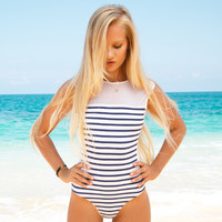 Summer High Quality Comfortable Hot Sale Sexy Stripes Lace Patchwork Ladies Swimwear [4970303940]