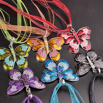 Charm Fashion lady Acrylic Butterfly Silk Ribbon Pendant Necklace Necklaces & Pendants Jewelry for Women Collar Necklaces