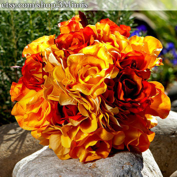 Garden Wedding Rose Bouquet- Real Touch Roses- Bridal Accessory