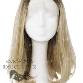 "17 inch Heat Safe Synthetic Lace Front ""Victoria"" Bob with Straight Texture in Rooted Ash Blonde"