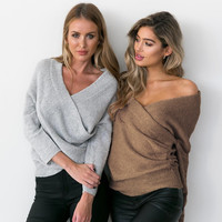 Pullovers chest crossover v-neck dew shoulder