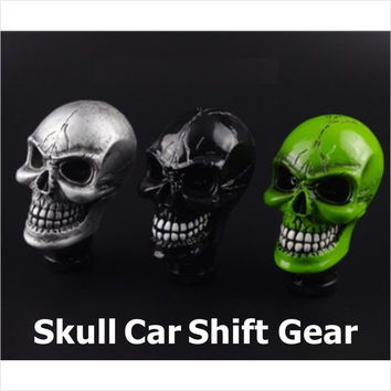 Car Accessories Green Silver Black Resin Wicked Carved Skull Universal Car Manual Gear Stick Shifter Knob Shift Lever