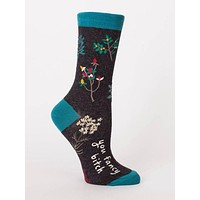 You Fancy Bitch Crew Socks in Dark Heather Black