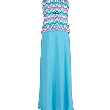 Xtraordinary 7-16 Chevron-Popover Maxi Dress - Pink/Turquoise