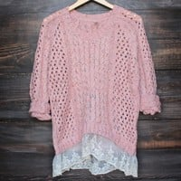 falling in love gauze open knit sweater with lace hem in pink