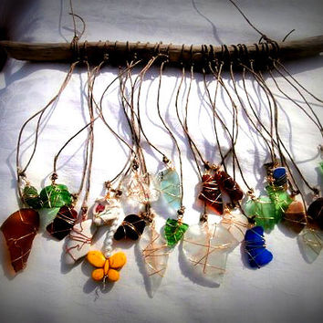 Beach Glass Wind Chime Crystal Sun Catchers Bohemian Style Beach Glass Crafts Sea Glass Art Beach Weddings Outdoor Wind Chime