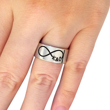 Infinity Initials Silver Band Rings