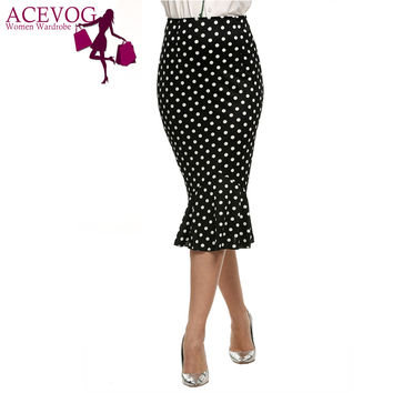 ACEVOG Womens Summer Vintage Polka Dot High Waist Elastic Work Office Party Slim  Bodycon Mermaid Pencil Midi Skirt M-XL