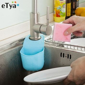 Creative Folding Hanging Silicone Sink Shelving Sponge Brush Storage Boxes Bins Bathroom Soap Organizer Bags Kitchen Gadgets