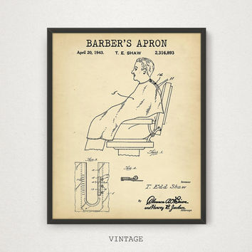 Barber Apron Patent Print, Barber Shop Decor, Barber Poster, Barber Apron Wall Art, Barber Art Print, Barber Gift, Barber Apron Invention