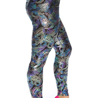 Sexy Purple Black Metallic Paisley Print Faux Leather High Waist Leggings