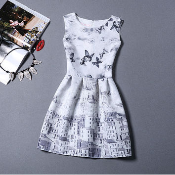 Butterfly Country Lifestyle Office Women Outfit To Work Sleeveless Summer Dress
