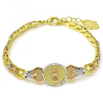 Gold Layered 03.26.0032.07 ID Bracelet, Guadalupe and Flower Design, Diamond Cutting Finish, Tri Tone