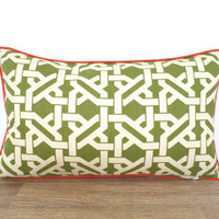 Pistachio green lumbar pillow cover 20x12, geometric cushion cover, trellis bed pillow green and orange, dorm room pillow