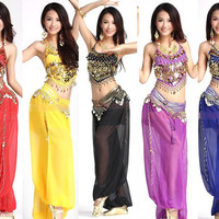 BELLY DANCE COSTUME SET 2PC GOLD HALTER TOP HAREM GENIE PANTS BOLLYWOOD DANC PHD