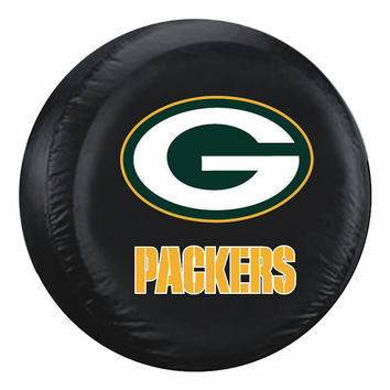 Green Bay Packers Black Tire Cover - Size Large