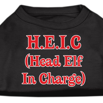 Miragepet Products Puppy Dog Cat Apparel Head Elf In Charge Screen Print Shirt Black XS (8)