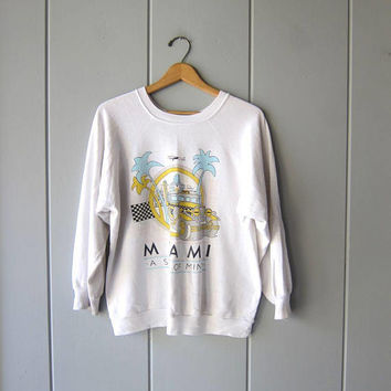 "80s MIAMI ""A State Of Mind"" Sweatshirt Vintage Raglan Sweatshirt Distressed Hipster Novelty State Souvenir THIN Sweatshirt Worn In Large"