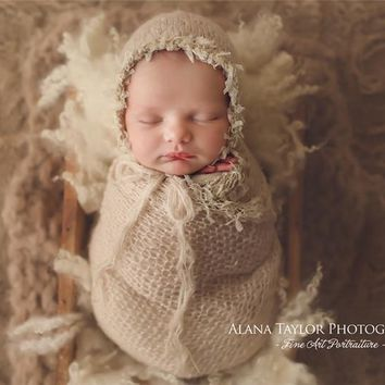 Newborn Baby photography props,lace wrap with matching hat,stretch super fluffy,baby soft blanket(40*80 CM)