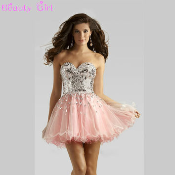 Lovely Ball Gown Sweetheart Beaded Sequined Homecoming Dress