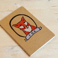 Red Fox in a Frame Blank or Lined Notebook Moleskine Journal Hand Carved Stamp Hand Colored
