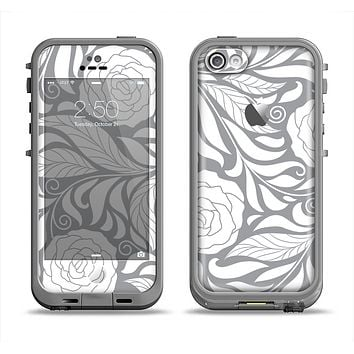 The Gray Floral Pattern V3 Apple iPhone 5c LifeProof Fre Case Skin Set