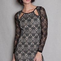 Diosa Lace Long Sleeve Bodycon Mini Dress With Cut Outs - Black