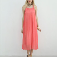 Pink Pleated Sleeveless Dress