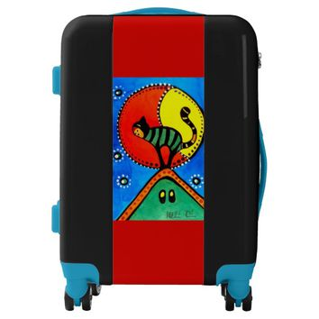 The Cat and The Moon Colorful Cat Design Luggage