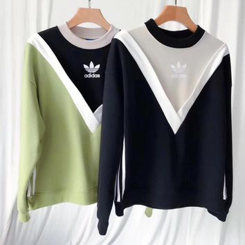 One-nice™ ADIDAS Fashion Letter Print Round Neck Top Pullover Sweater Sweatshirt