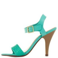 Aqua Texture Block Single Strap Heels by Charlotte Russe