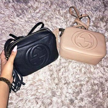 GUCCI Hot Selling Fashion Lady Big Double G tassels Bag Black