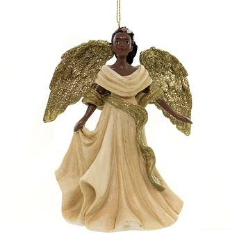 Holiday Ornaments BLACK ANGEL IN GOLD/IVORY DRESS African American C7607 C