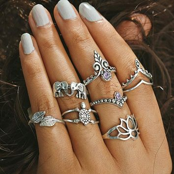 Hollow Turkish Hand Ring Sets Anillos 2017 New Geometric Silver Color Elephant Knuckle Ring for Women Vintage Jewellery #45