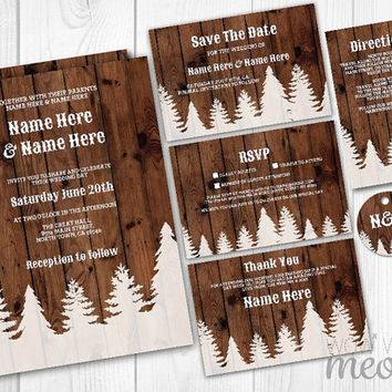 Wedding Invitations Set Template Rustic Package Printable Invites Save The Date INSTANT DOWNLOAD Forrest Wood Woodland Personalize Editable